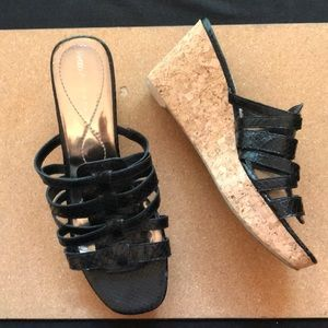 Enzo Angiolini Cork Wedge Heels